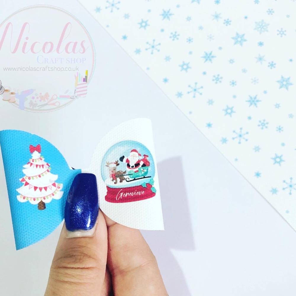 Snow globe santa personalised pre cut bow loop