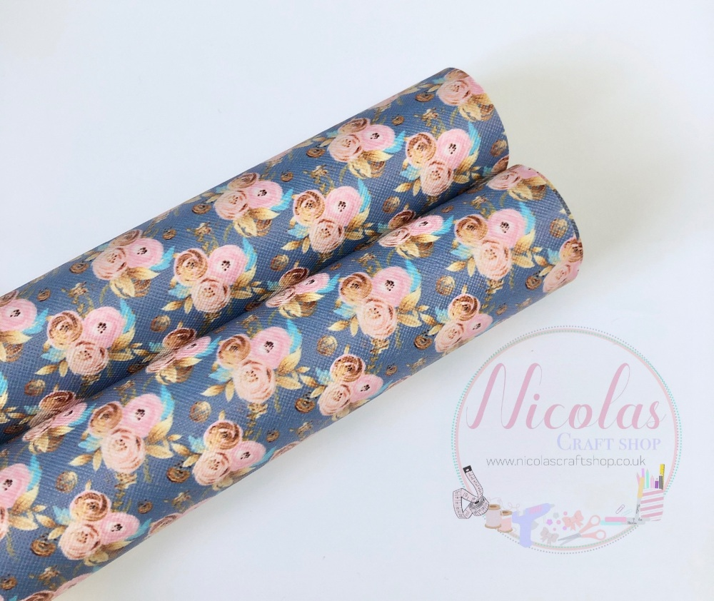 Grey floral printed leatherette fabric