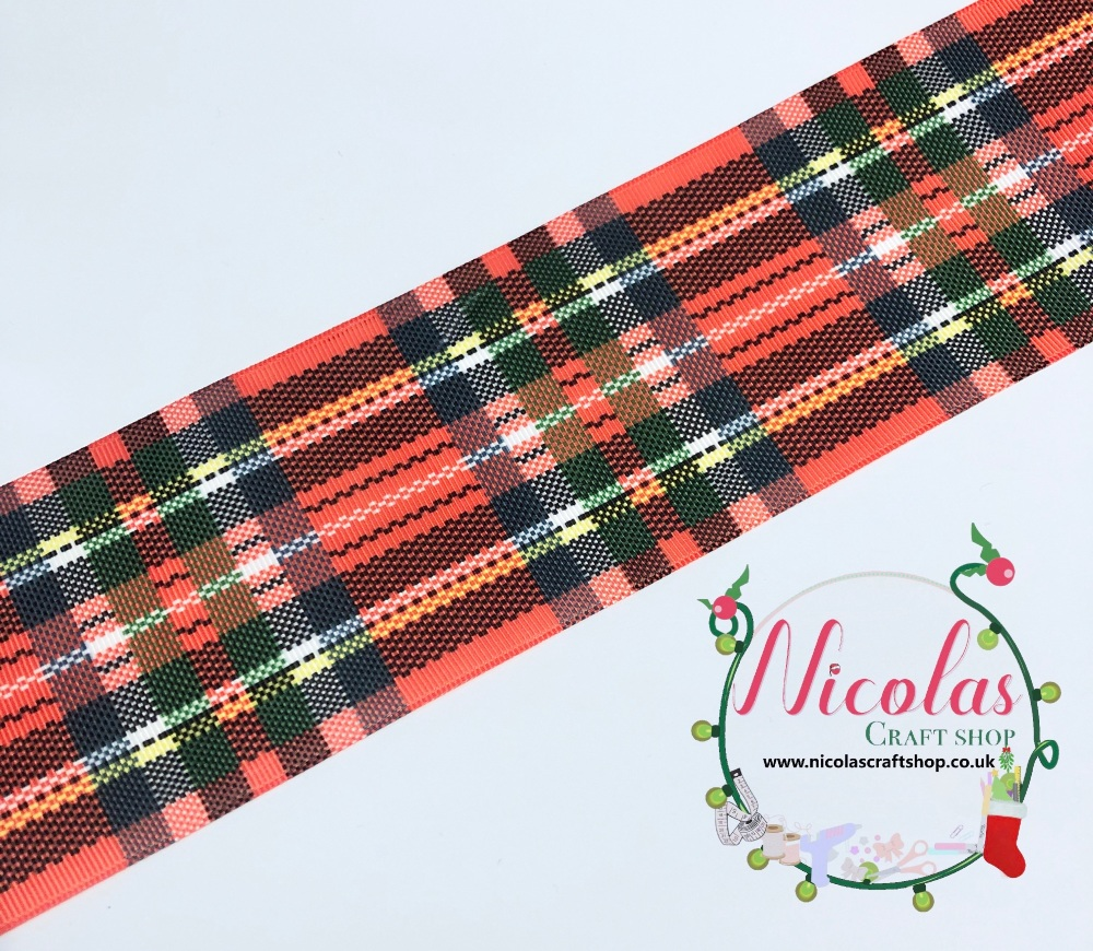 "3"" red tartan grosgrain ribbon"