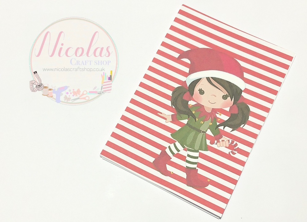 NON SLITS - Christmas Elf Girl printed bow cards (pack of 10)