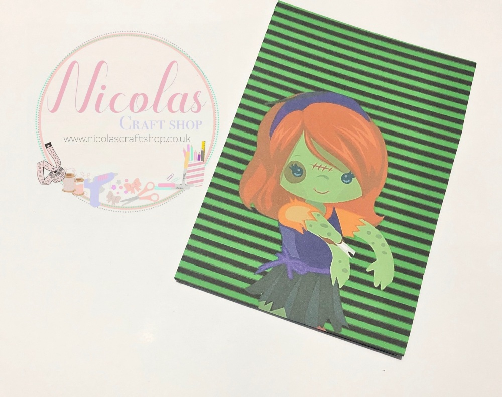 NON SLITS - Green Stripe red hair zombie printed bow cards (pack of 10)