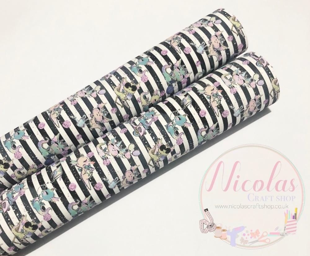 Cute Dragon Stripe printed canvas sheet