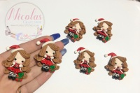 Christmas stripe Santa girl with present polymer clay doll