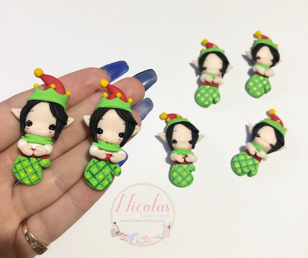 Christmas elf girl in glove polymer clay doll