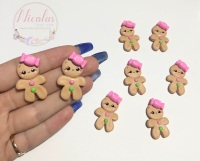 Christmas Pink bow gingerbread girl polymer clay