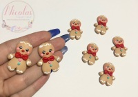 Christmas Buttoned and scarfed gingerbread man polymer clay
