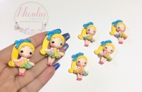Pastel rainbow dress blonde hair girl polymer clay