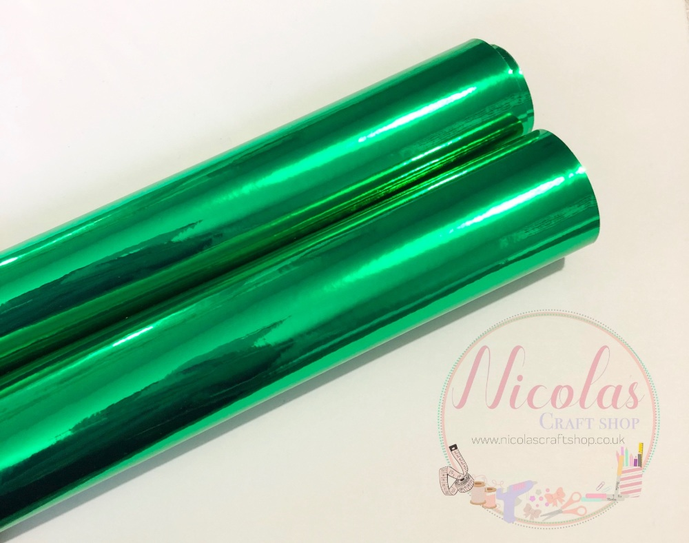 Dark Green mirrored leatherette fabric