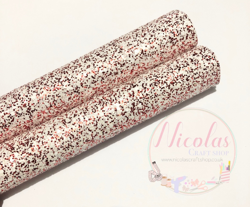Red Dust chunky glitter fabric