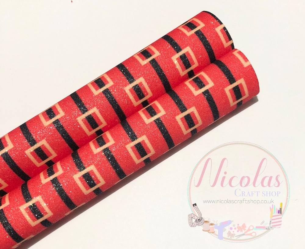 Red santa belt printed fine glitter