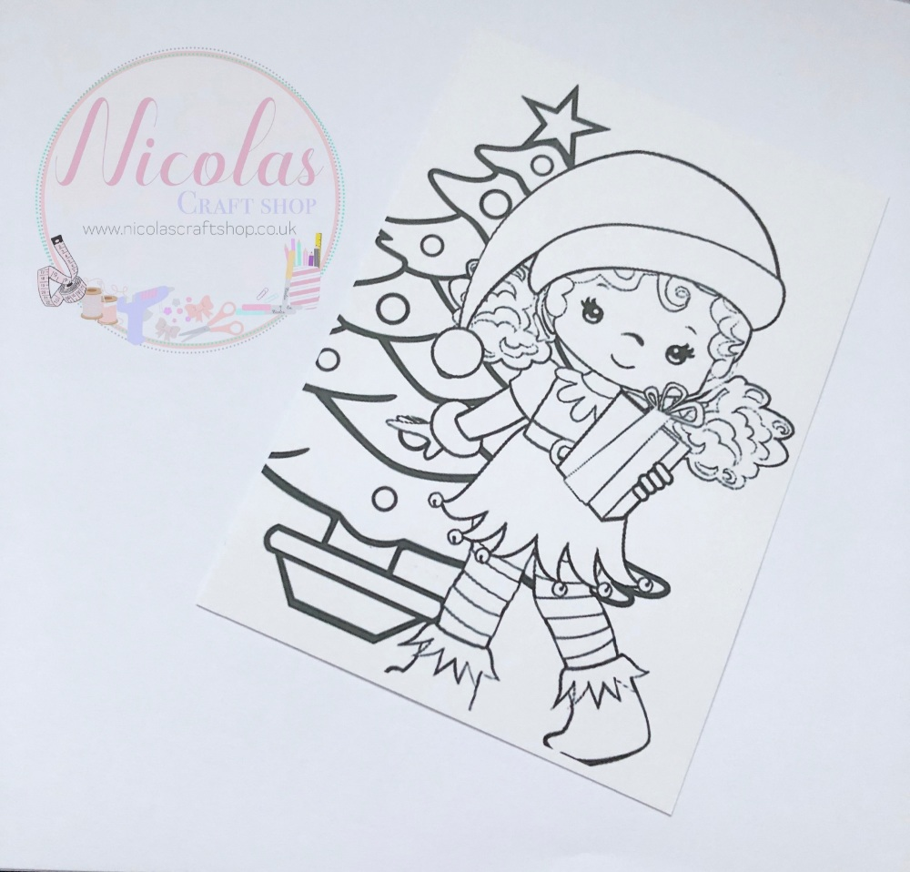 NON SLITS - Christmas elf colour me in printed bow cards (pack of 10)