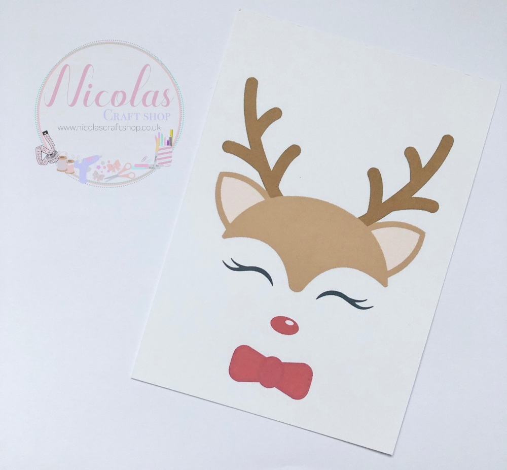 NON SLITS - Christmas red nose reindeer printed bow cards (pack of 10)