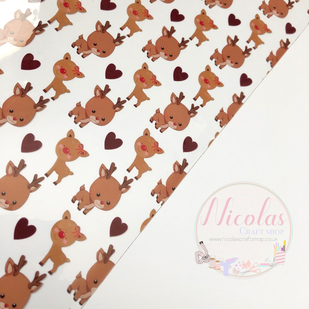 Cute baby reindeer printed transparent jelly fabric