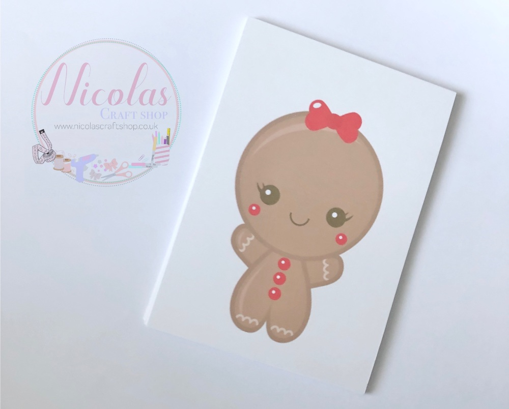 NO SLITS - Gingerbread Lady pretty pink bow printed bow cards (Pack of 10)