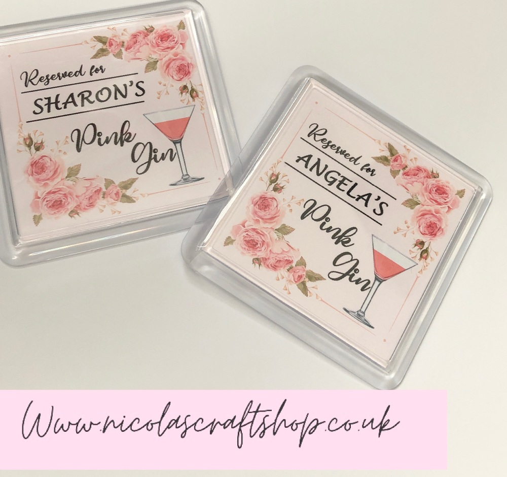 GIFT Personalised pink gin plastic display coaster