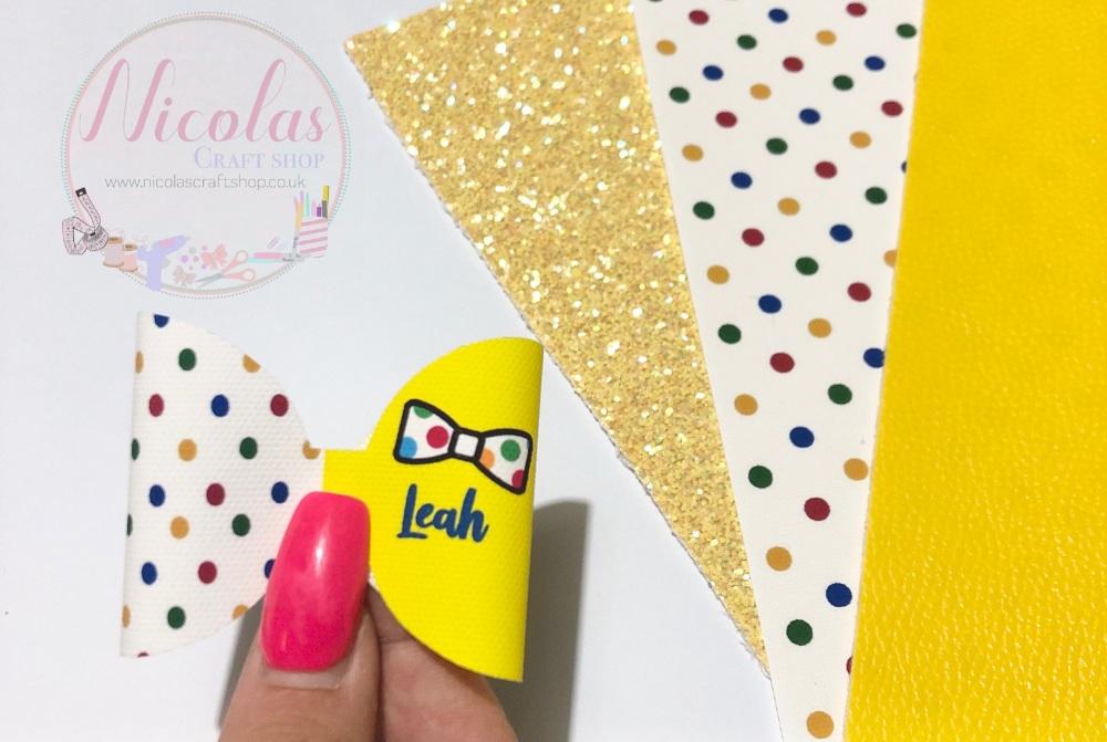 Polka dot inspired personalised pre cut bow loop