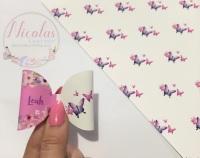 Pink block purple butterfly floral printed pre cut