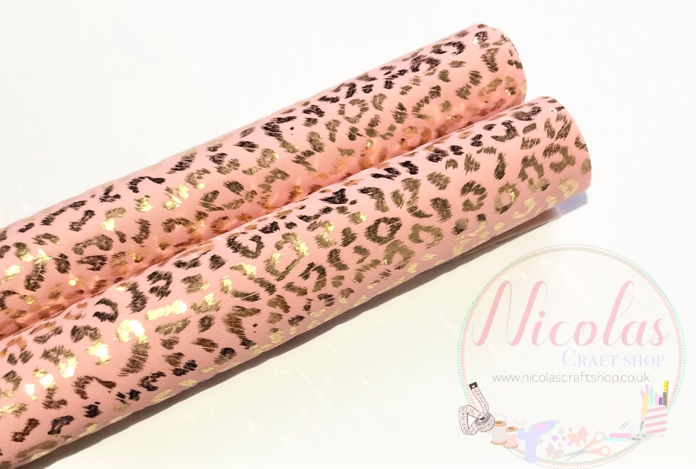 Pink gold leopard printed smooth velvet fabric