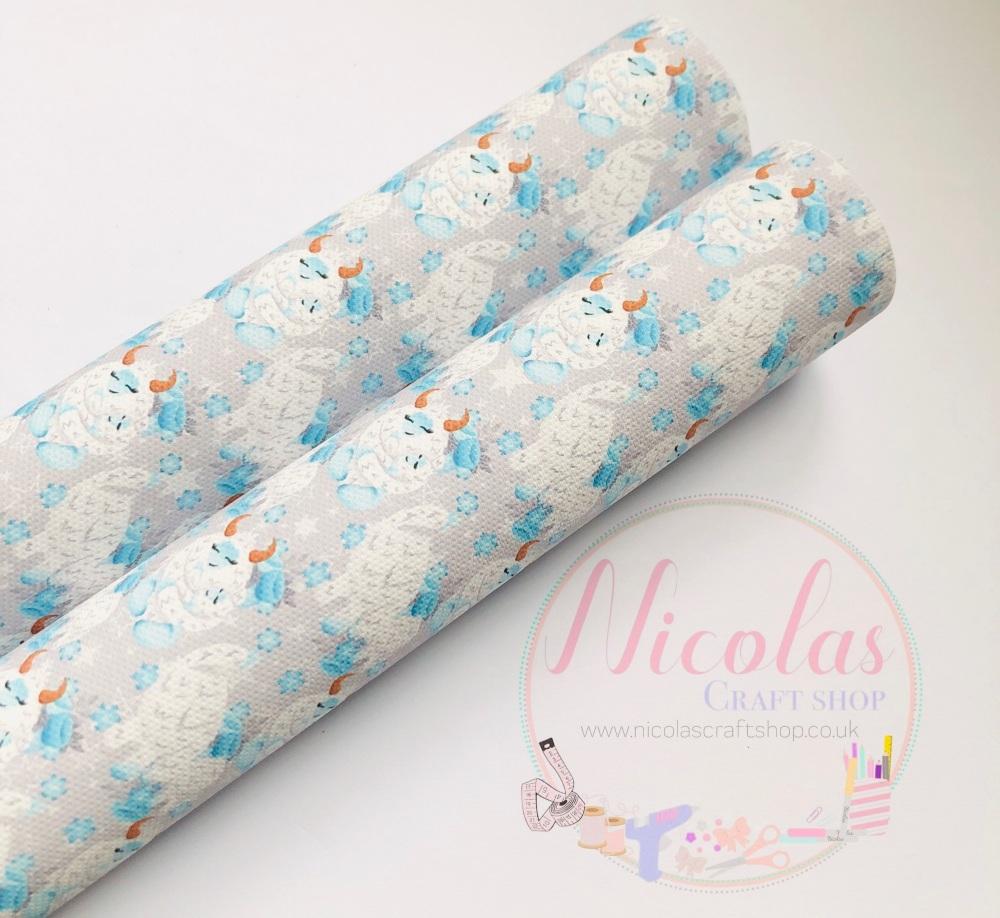 1311- Grey Yeti snowflake printed canvas sheet