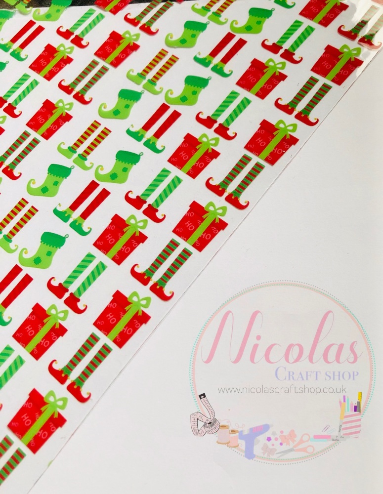 Elf Stockings & presents transparent printed jelly fabric