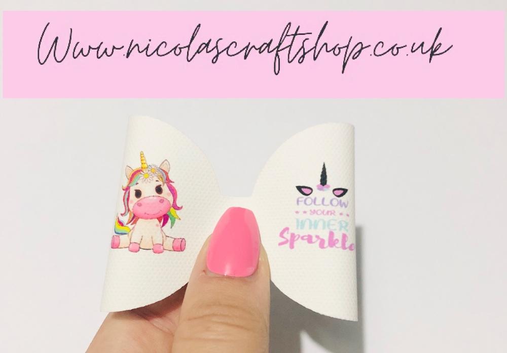 Follow your sparkle unicorn printed pre cut bow loop