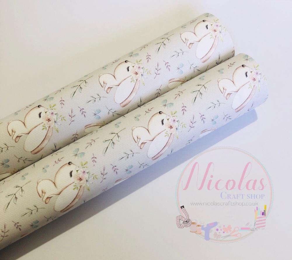Pretty white bunny rabbit printed canvas