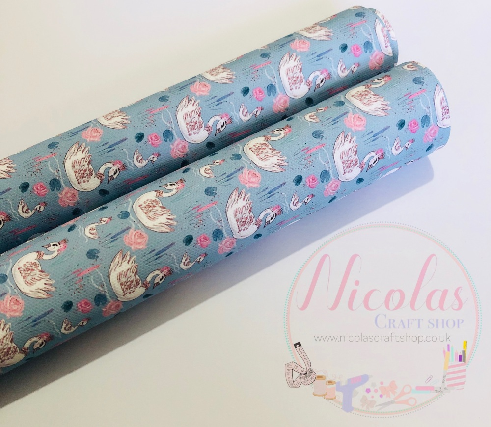 Pretty blue pink swan flower printed canvas