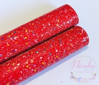 A grade Christmas Lights Red chunky glitter
