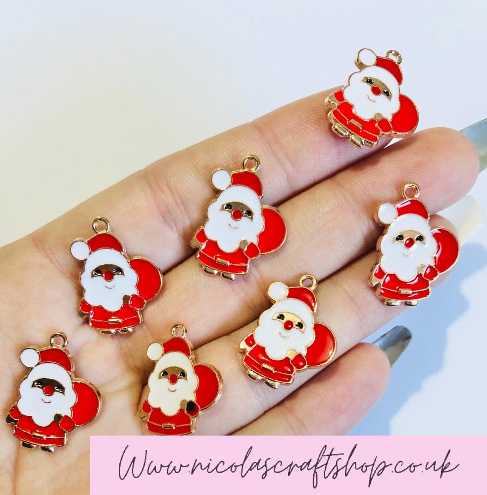 Father Christmas Santa mini golden charm embellishments