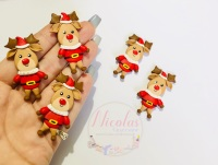 Full body Reindeer santa outfit polymer clay doll