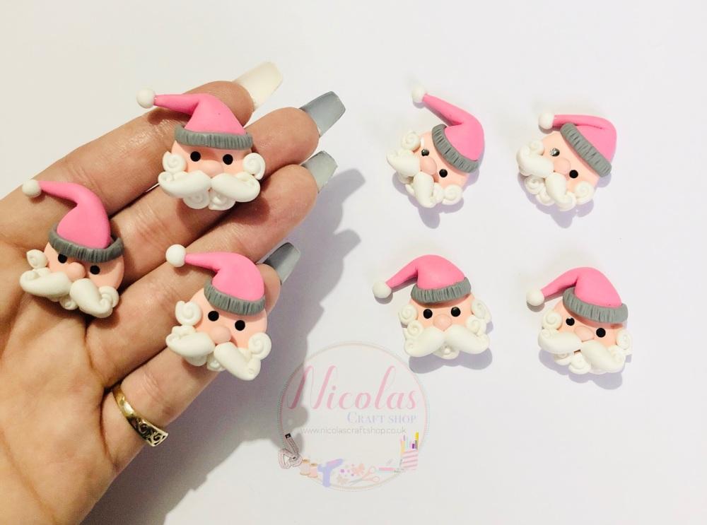 PINK - Santa head Christmas polymer clay