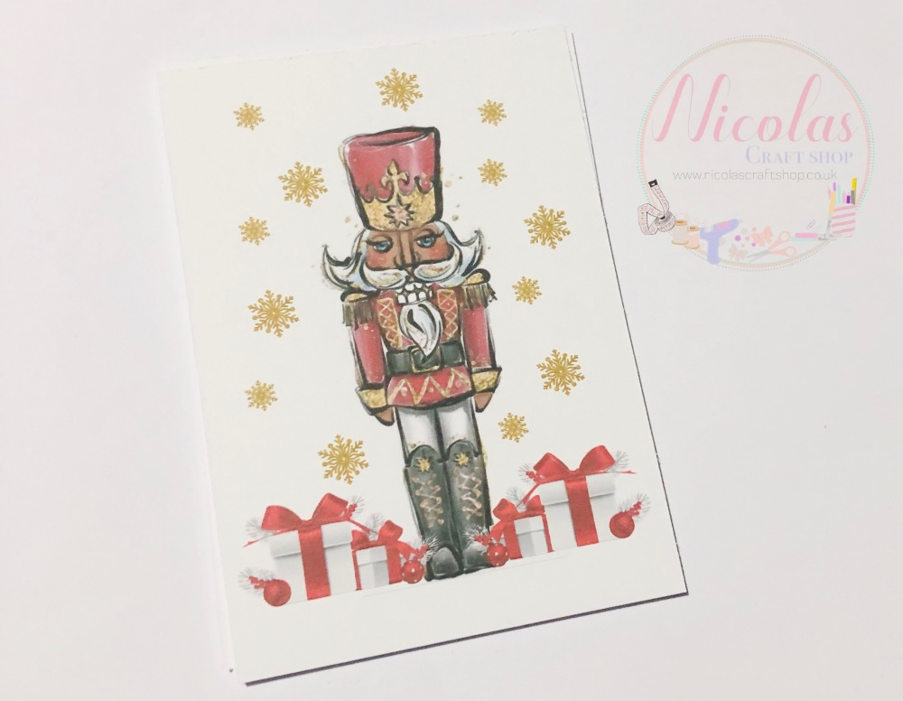 NO SLITS Nutcracker christmas printed bow cards (PACK OF 10)