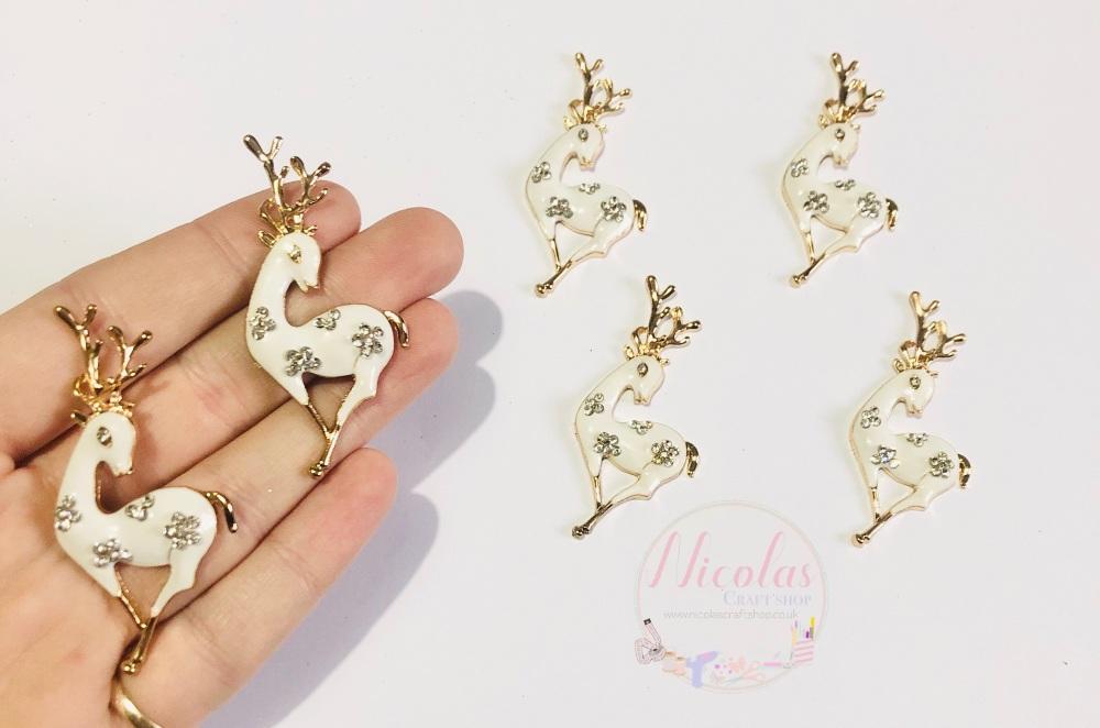White Deer Reindeer Bling alloy accessory embellishment