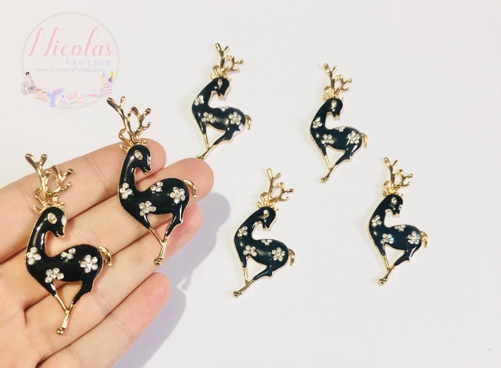 Black Deer Reindeer Bling alloy accessory embellishment