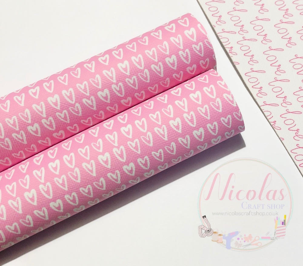 Perfect Pink heart printed leatherette