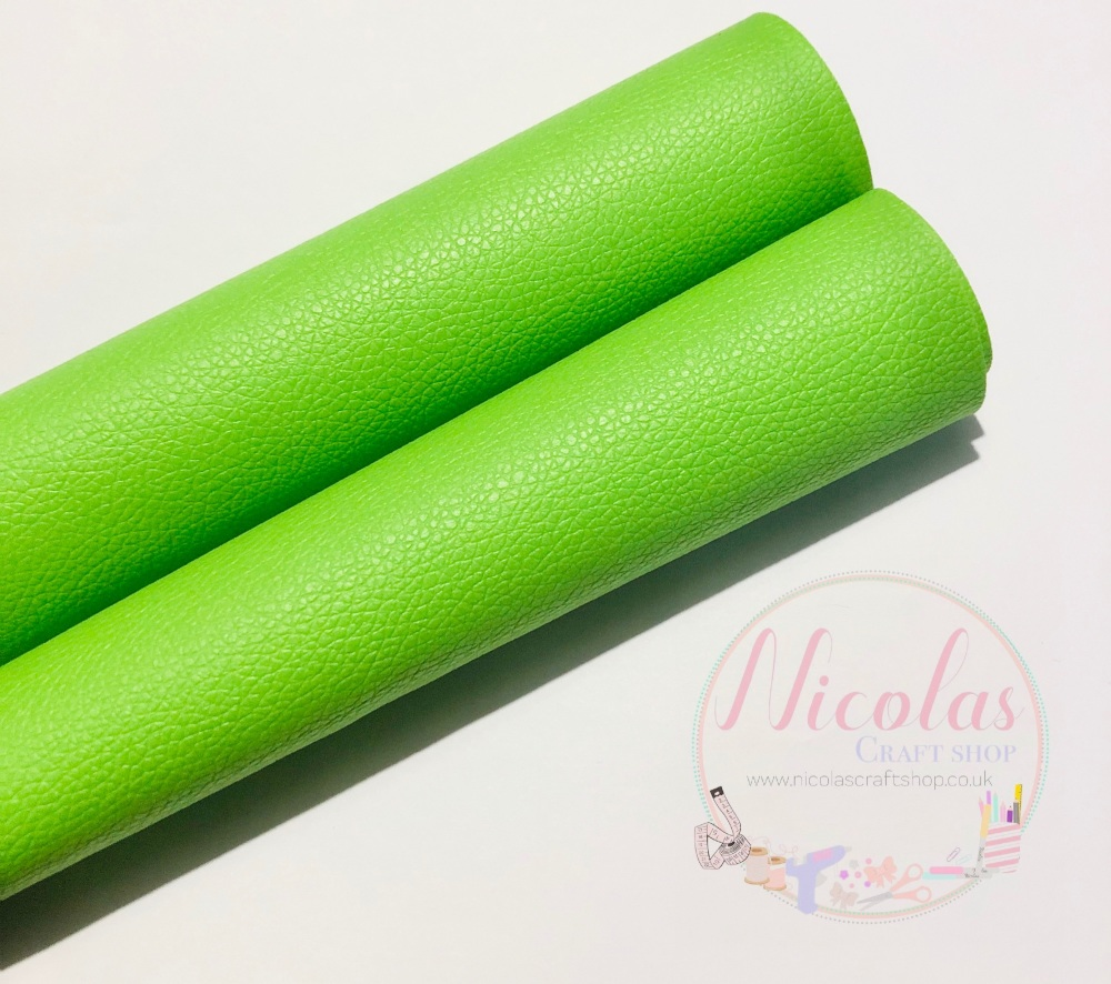 Litchi Lime Green Plain leather a4