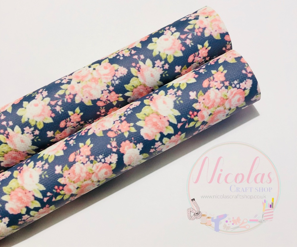 Navy Blue Floral flower printed leatherette