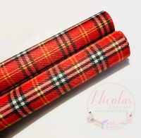 Leather Backed small print red tartan fabric
