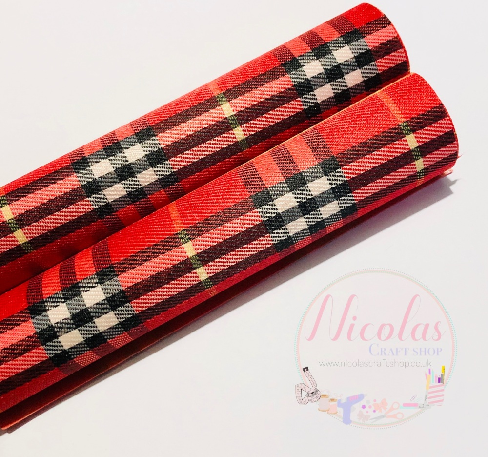 Large Print Leather Backed red tartan fabric