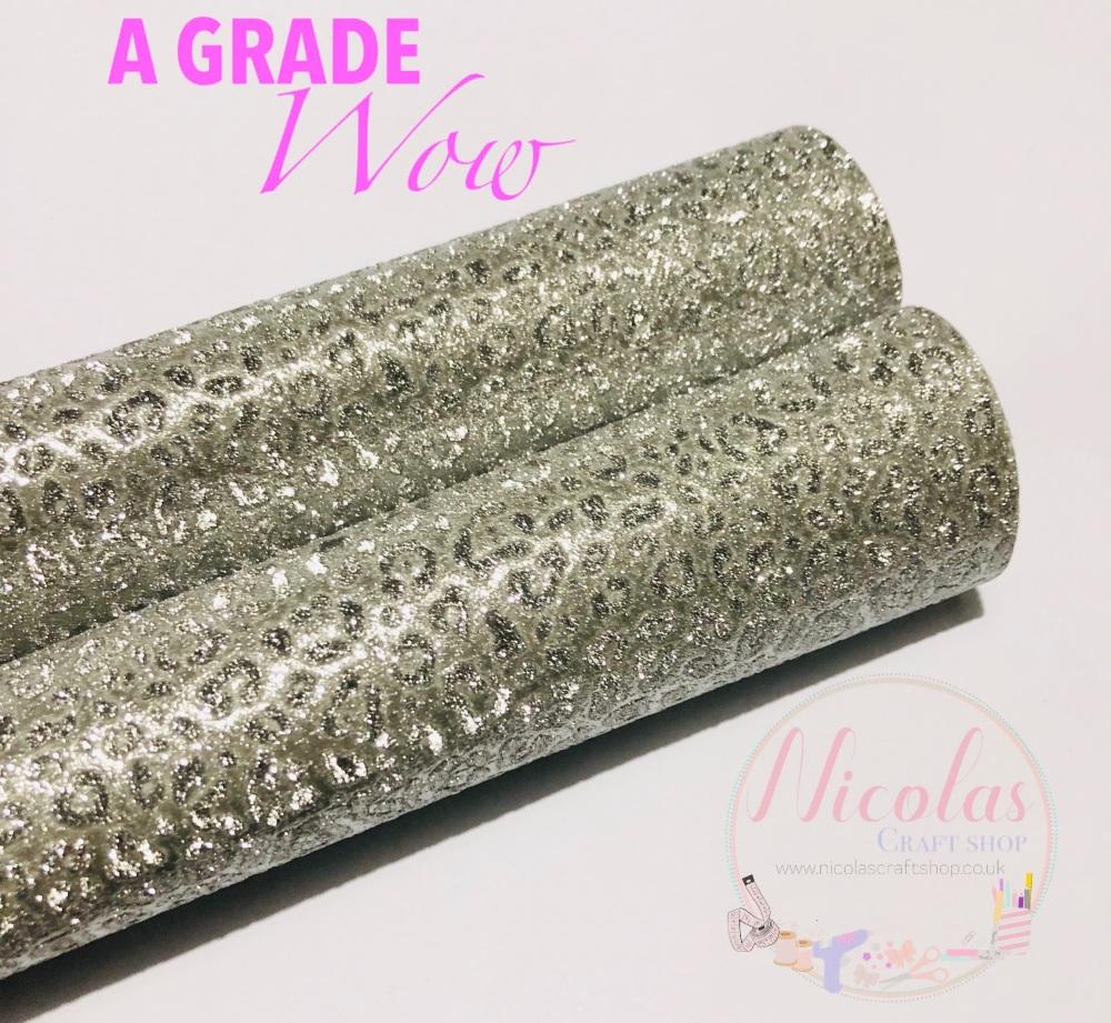 A grade - silver leopard print fine glitter