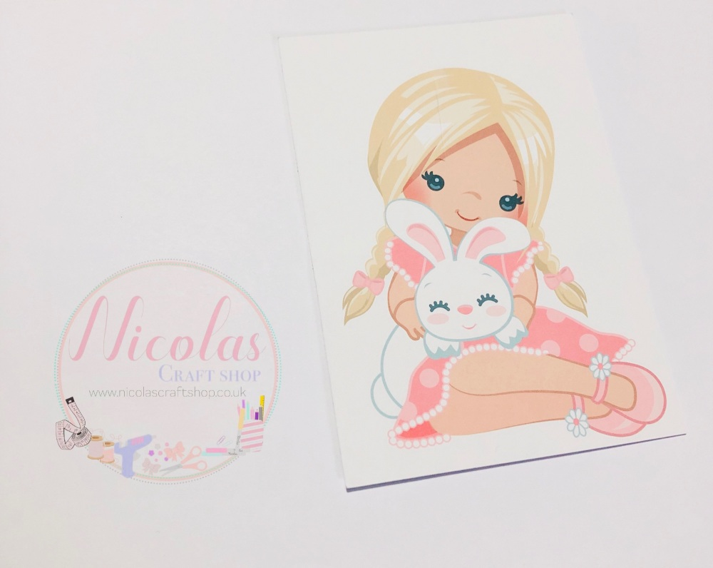 EASTER BUNNY GIRL - BLONDE - PACK OF 10 PRINTED BOW CARDS