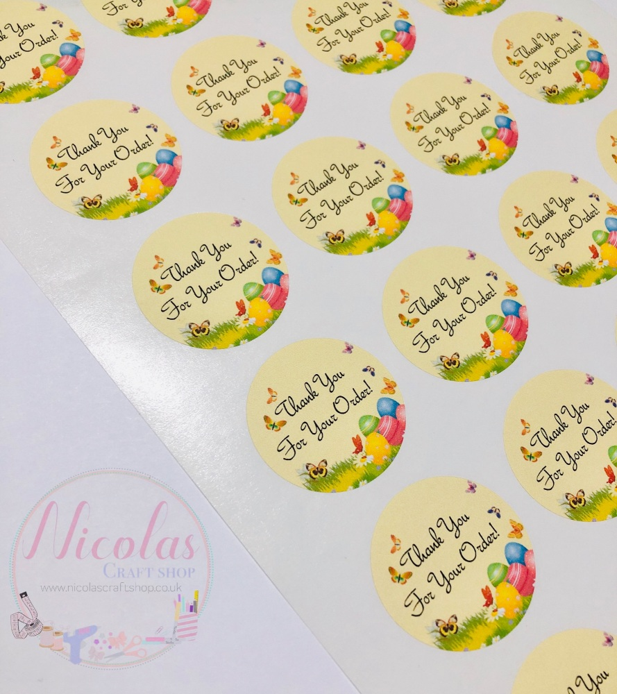 Pastel yellow easter thank you for your order sticker sheet
