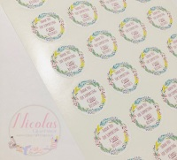 Floral wreath thank you for supporting a small business stickers