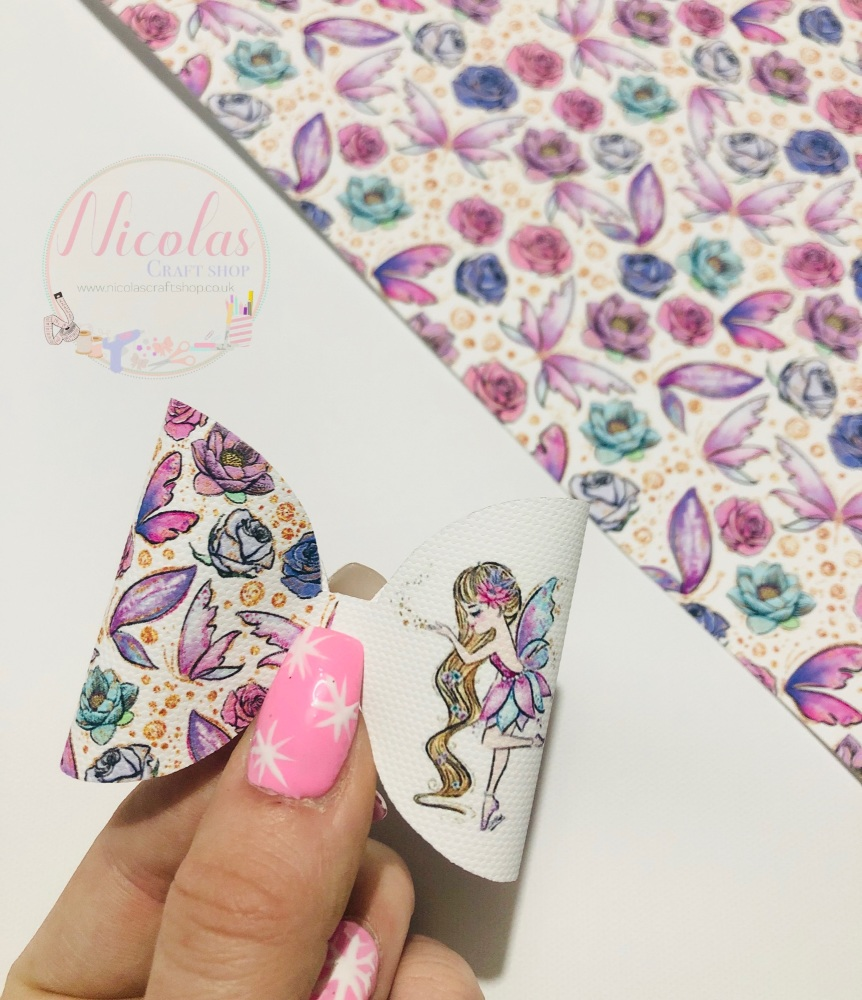 Floral Watercolour fairy printed pre cut bow loop