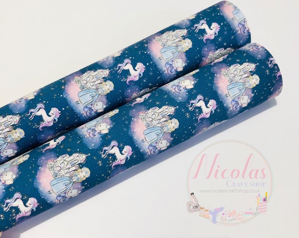 Navy blue unicorn princess castle printed canvas sheet
