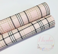 Pink Burberry tartan check printed leatherette fabric