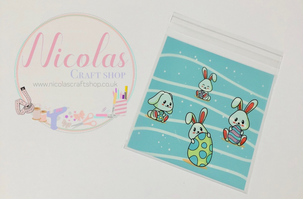 Baby blue Easter bunny cello bags (10 pack)