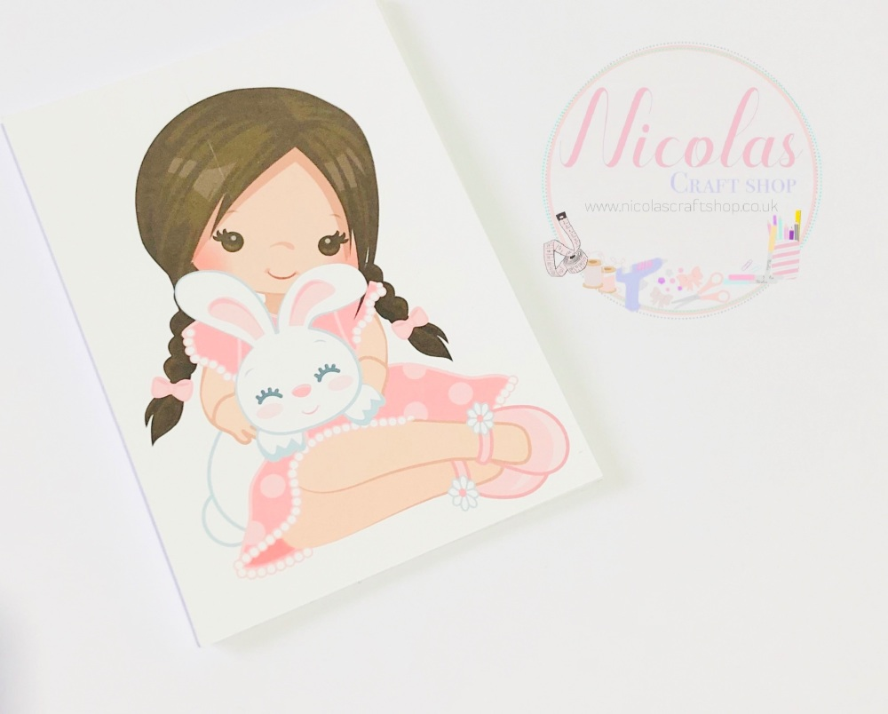 Brown Hair Easter Bunny Girl printed bow cards
