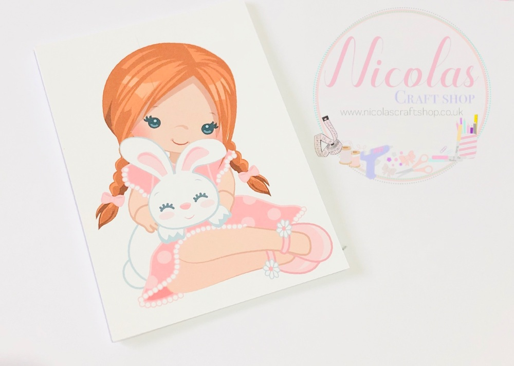 Red Hair Easter Bunny Girl printed bow cards