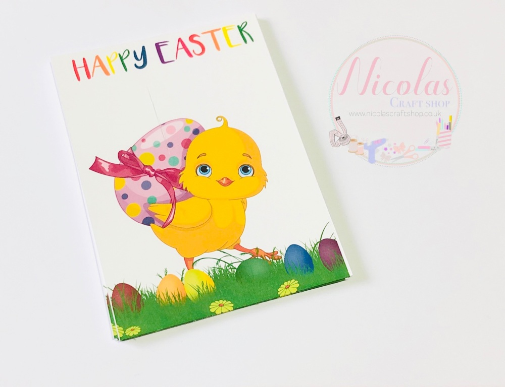 HAPPY EASTER - easter chick printed bow cards